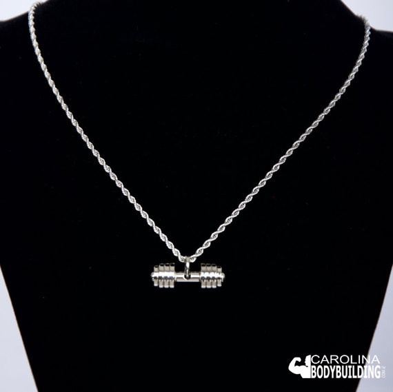 Best Stainless Steel Silver Dumbbell Charm Necklace
