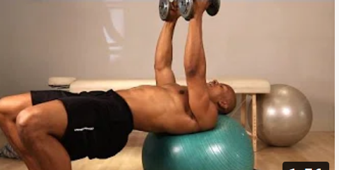Flat Dumbbell Fly with an Exercise Ball