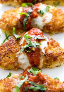 healthy chicken parmesan, low carb meals, high protein meals, chicken dishes